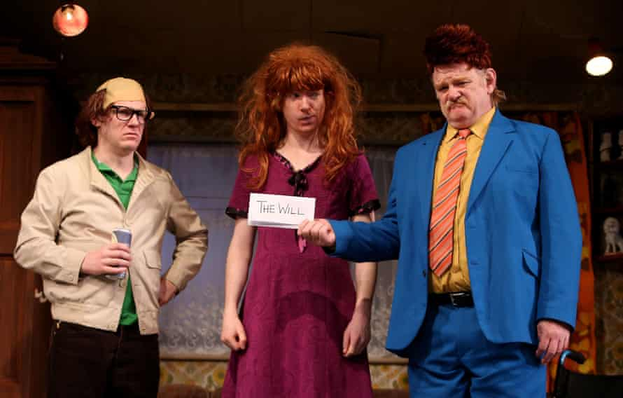 Domhnall Gleeson, center, with his brother Brian Gleeson, left, and father Brendan in Enda Walsh's The Walworth Farce at Olympia Dublin in 2015.