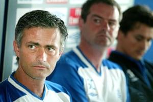 Steve Clarke sits between José Mourinho and Rui Faria
