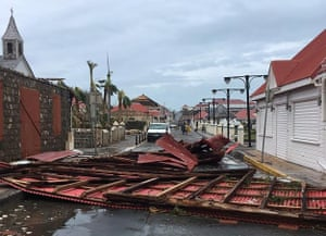 Wreckage in a street of Gustavia on the French overseas collectivity of Saint-Barthelemy.