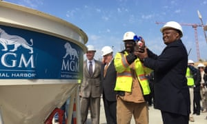 At a celebration honoring the 1000th member of the construction workforce of Prince George's County during construction of MGM National Harbor.