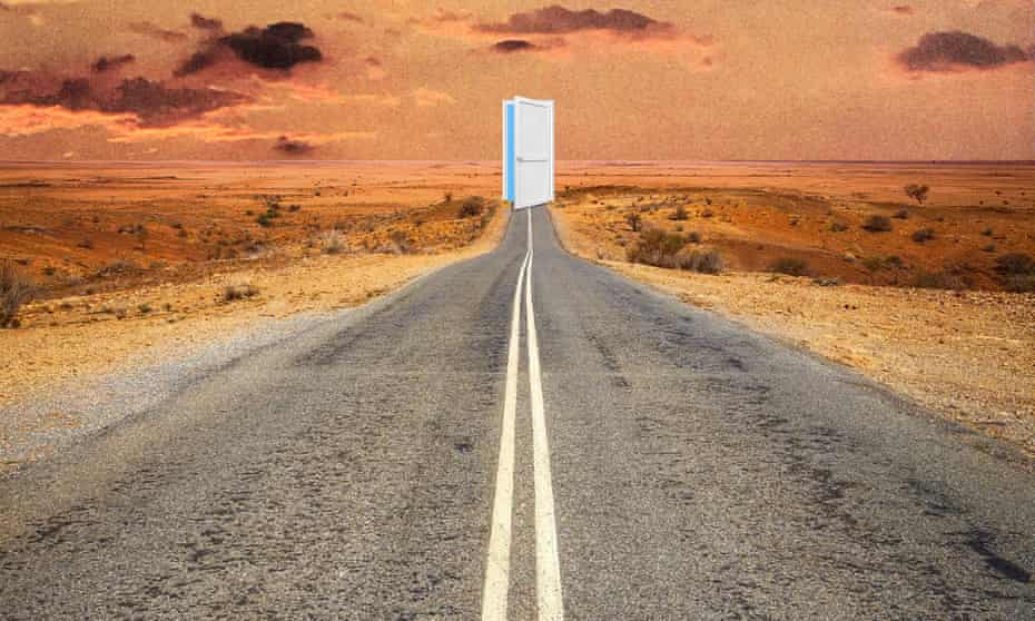 Artwork of a road leading to a door