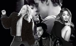 Grey area… Ellie Goulding, the Weeknd, Rita Ora, Jamie Dornan and Dakota Johnson.