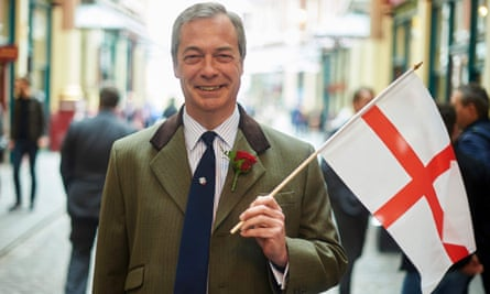 Ukip's Nigel Farage flies the flag for England.