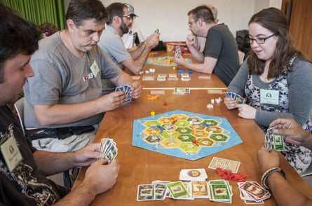 Settlers of Catan played by competitors in the Mind Sports Olympiad, London 2015.