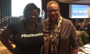 L Joy Williams with Dana Vickers Shelley, who plans to run for office.