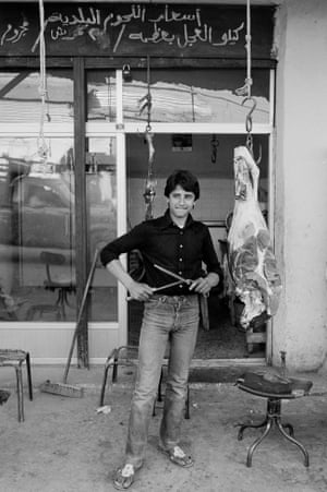 Butcher's shop in a Palestinian refugee camp outside Amman in Jordan, 1982