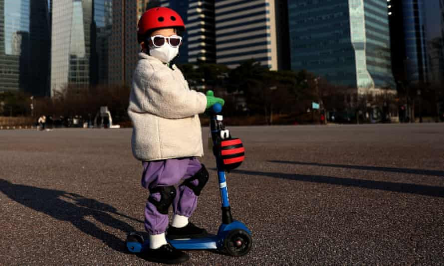 A child wears a mask in Seoul