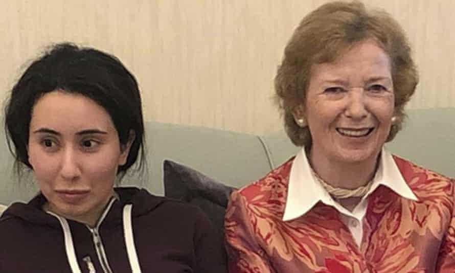 Sheikha Latifa bint Mohammed al-Maktoum (left) pictured with Mary Robinson in one of the photos released on 24 December by the UAE's foreign ministry