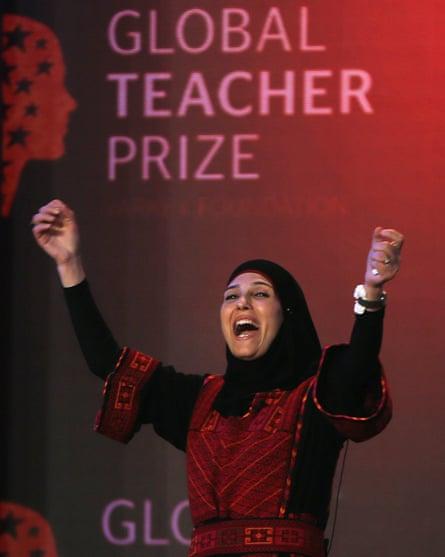 Hanan al-Hroub reacts after winning the award.