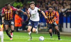Bolton's Callum King-Harmes, 17, in action against Bradford. Keith Hill has signed more experienced players to assist the youngsters.