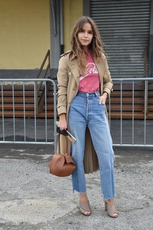 Miroslava Duma in the Vetements it jeans at fashion week.