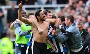Jonas Gutierrez of Newcastle United celebrates after scoring his team's second goal against West Ham