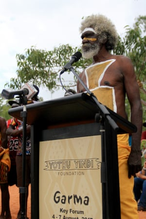 Djunga Djunga Yunupingu at the opening of the Garma festival. The sound of the yidaki (didgeridoo) is used at the start of the festival call to all people to come together in unity; to gather for the sharing of knowledge and culture; to learn from and listen to one another.