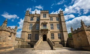 The Little Castle front view with steps leading up the front door at Bolsover Castle, Derbyshire