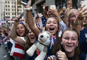 """Crowds were chanting """"USA!"""" as they waited for the team's arrival to celebrate its second consecutive World Cup victory."""