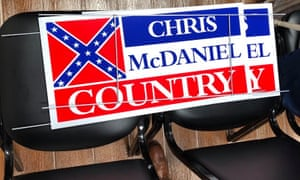 Republican state senator Chris McDaniel's campaign signs. McDaniel's signature issue is a promise to preserve the state flag, which bears the Confederate flag.