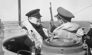 British prime minister Winston Churchill was taken to the Normandy coast on 12 June 1944 on board HMS Kelvin. He had originally hoped to witness D-day first-hand from HMS Belfast, but was dissuaded by King George VI.