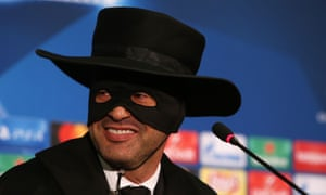 Paulo Fonseca, the Shakhtar Donetsk manager, conducts his post-match media briefing dressed as Zorro to honour a promise he made if his side qualified for the last 16 of the Champions League