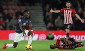 Paul Pogba gestures to the referee after tackling Mario Lemina – the Frenchman said he wished Manchester United had a more attacking mentality.