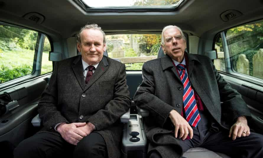 Colm Meaney as Martin McGuinness and Timothy Spall as Ian Paisley in The Journey.