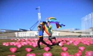 Marriage equality advocates outside Parliament House in Canberra in 2017. 'I cannot think of a single instance in which a progressive social change did not originate collectively with the people on the ground, sometimes literally taking to the streets.'