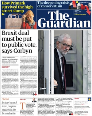 Guardian front page, Tuesday 28 May 2019