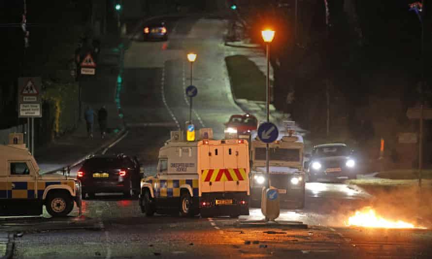 The Police Service of Northern Ireland on North Road in Carrickfergus near Belfast following sporadic outbursts of disorder on Sunday night.