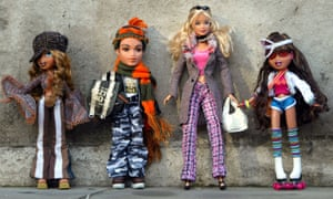Bratz dolls and a Barbie from the early 2000s.