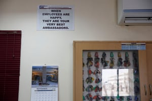 A sign in the main office at the QDVC camp.