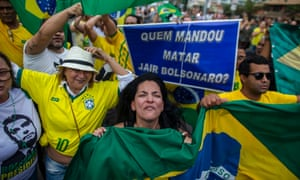 Supporters of the presidential candidate Jair Bolsonaro, who has become a hate figure for many.