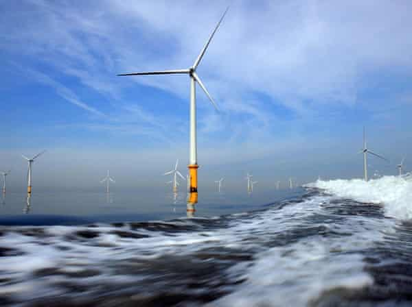 The Burbo Bank offshore windfarm in the mouth of the Mersey.