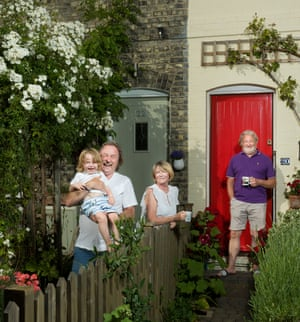 On our doorstep: neighbours Casey, Mike, Noreen and Wolfgang at the Railway Cottages in north London.