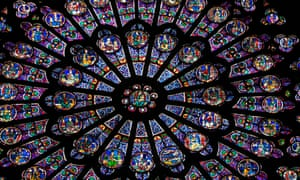 A stained glass 'rose' window inside Notre Dame Cathedral.