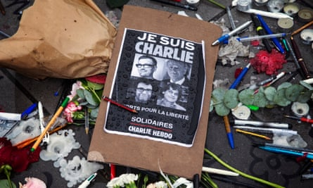Pens and pencils left in tribute after the Charlie Hebdo attack in Paris in January 2015