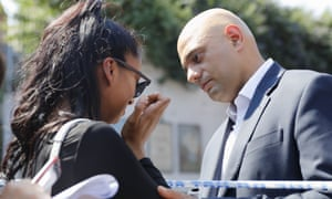Communities Secretary Sajid Javid comforts local resident Luna Leila Begum in the Finsbury Park area as he visits the scene where a vehicle was driven into pedestrians.