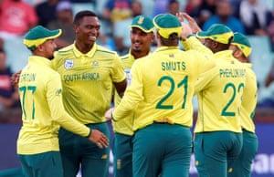 Lungi Ngidi celebrates the wicket of England's Jos Buttler.