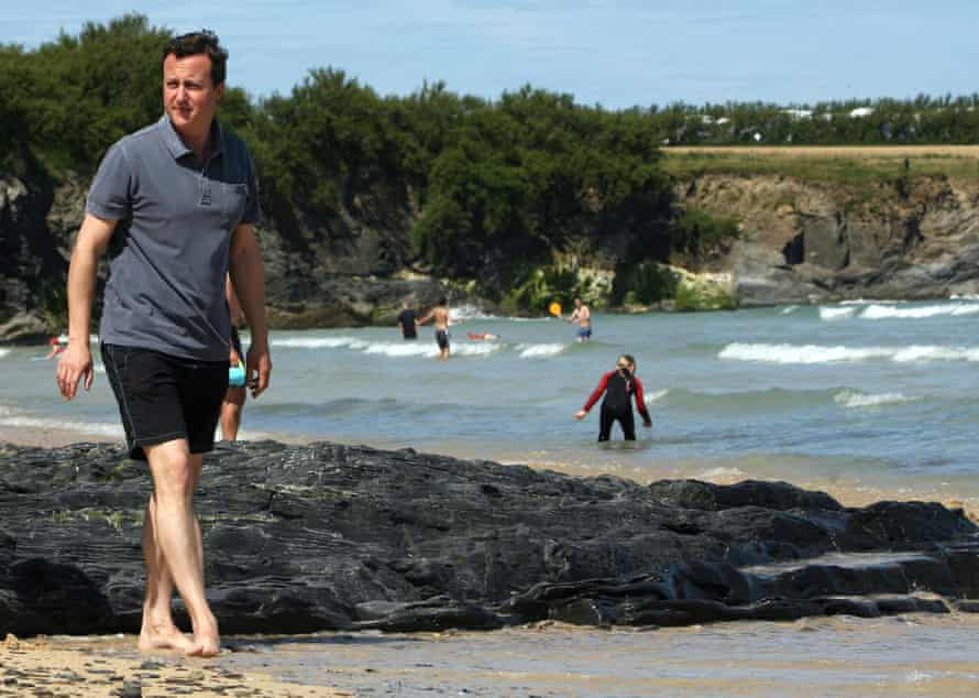 Cameron on holiday In Cornwall pre-hot tub acquisition. Photograph: Matt Cardy/Getty Images