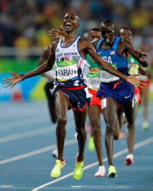 Mo Farah with gold and victory in the mens 5,000m during day fifteen of the 2016 Olympics in Rio de Janiero on August 20th 2016 in Brazil (Photo by Tom Jenkins).