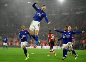 Jamie Vardy celebrates scoring his hat-trick in Leicester City's 9-0 drubbing of Southampton in October.