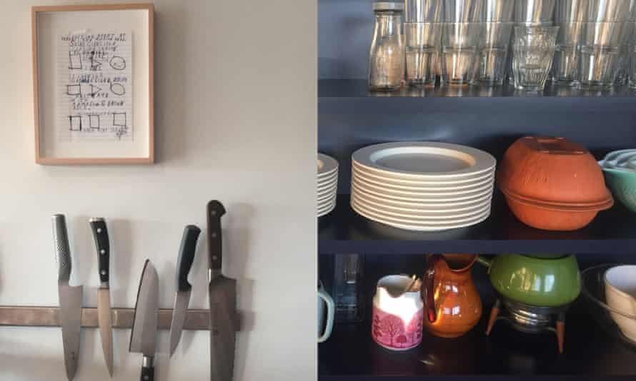 Jessica Koslow's kitchen with knives, glasses and cutlery on shelves