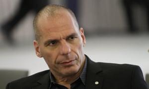 Greek Finance Minister Yanis Varoufakis at today's Eurogroup meeting in Riga.