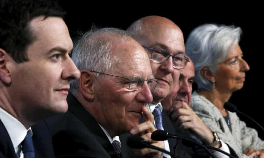 George Osborne, Wolfgang Schäuble, Michel Sapin, Luis de Guindos and Christine Lagarde