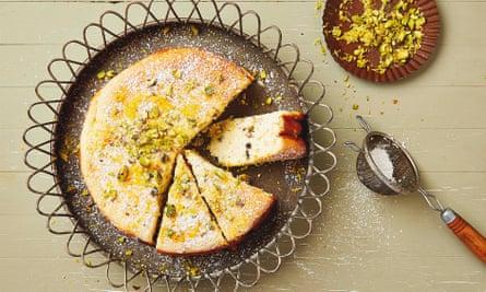 Thomasina Miers' yoghurt cake with pistachio, lemon and cardamom.