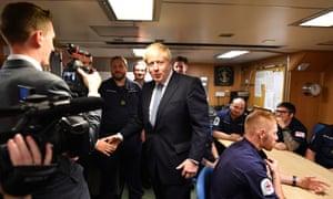 Prime Minister Boris Johnson meets crew members as he visits HMS Vengeance at HM Naval Base Clyde in Faslane, Scotland.