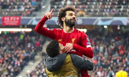 Mohamed Salah celebrates after scoring the second goal against Salzburg from a tight angle.