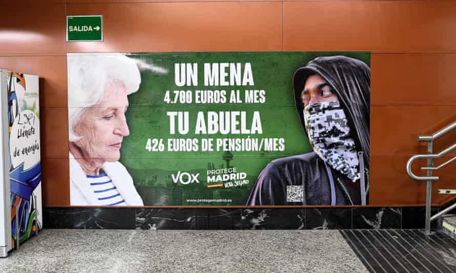 The far-right Vox party has used the poster containing false and ambiguous data in Madrid