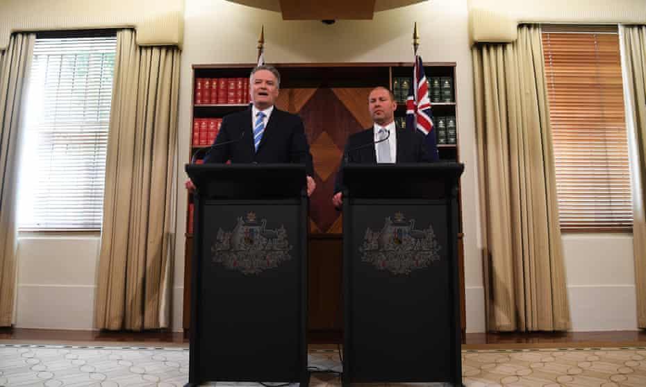 Josh Frydenberg (right) and Mathias Cormann unveil the Coalition's 2019 Australian election costings in Melbourne.