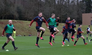 England players take part in a training session at Pennyhill Park.
