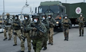The Bundeswehr lands on Sløborn to help with the evacuation measures.
