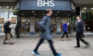 People walk past a branch of BHS on Oxford Street in London this morning